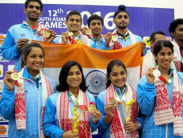 Women Squash team India clinched gold in the team championship event during the South Asian Games.