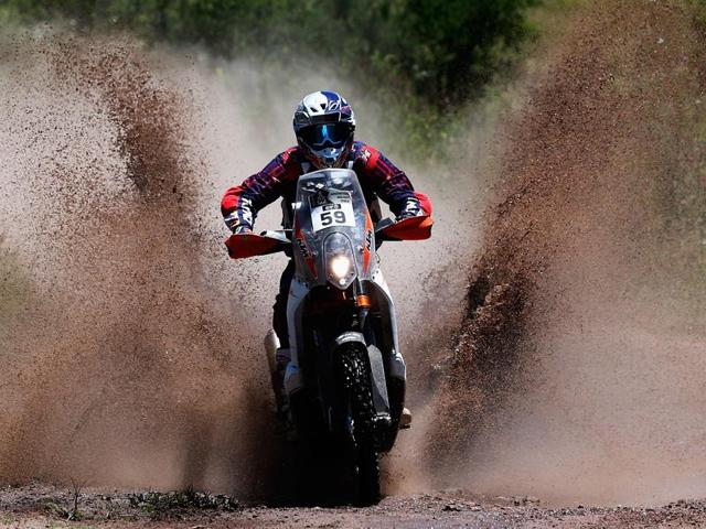 CS Santosh in action during the 2015 Dakar Rally, his maiden appearance was a first for an Indian rider at the event.