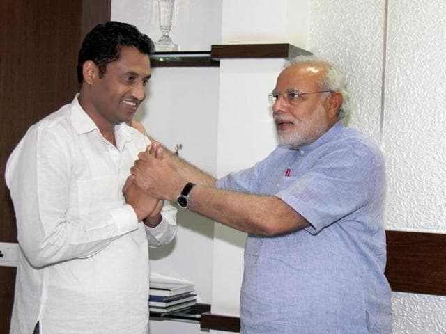 Jai Bhagwan Mittal (popularly known as Rocky Mittal)  with Prime Minister Narendra Modi.