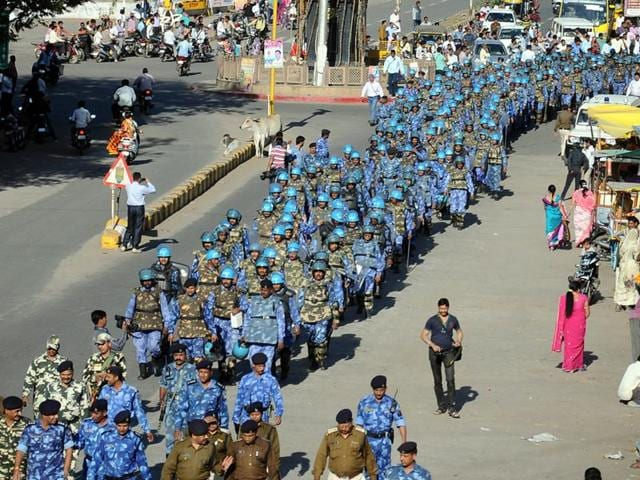 Heavy police force deployed at Bhojshala in Dhar on Thursday.