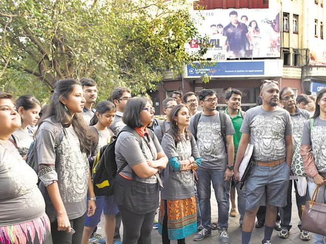 A group of Mumbaiites outside Eros, one of the city's most iconic cinema houses, on Wednesday.