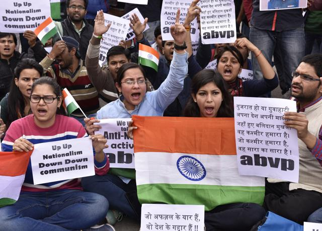 Students of ABVP protest against communism at JNU Campus, in New Delhi, India on Thursday, February 11, 2016.(Sanjeev Verma / HT Photo)