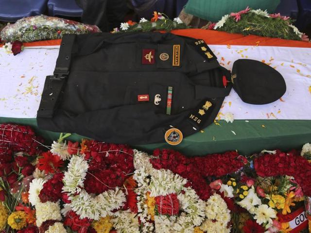 The uniform of NSG commando Niranjan Kumar, who was among those killed in the attack on the Pathankot air base.