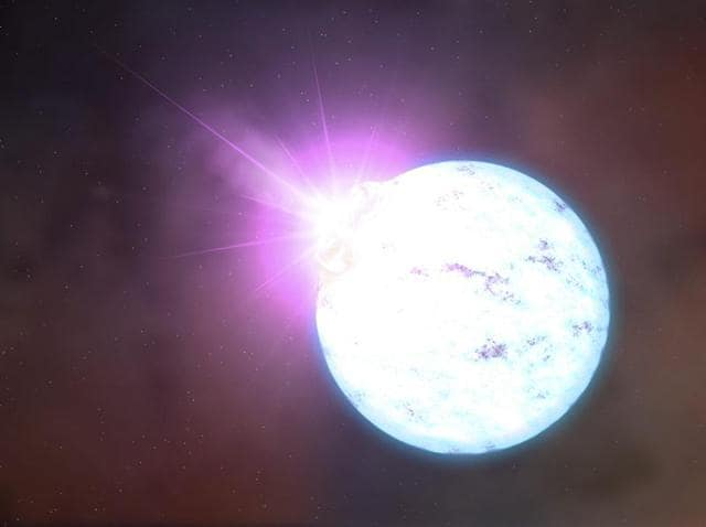 An artist's rendering of an outburst on an ultra-magnetic neutron star. A century ago, physicist Albert Einstein proposed the existence of gravitational waves, small ripples in the space-time continuum that dash across the universe at the speed of light.