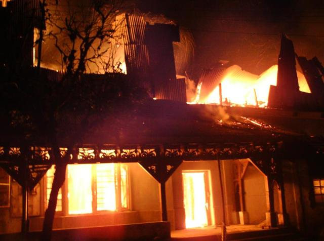 Locals said the two-storey wooden building of primary section was totally gutted.