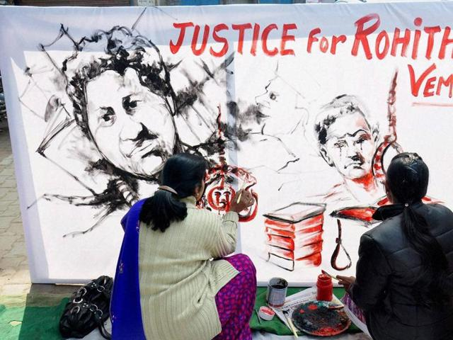 Rohith Vemula's mother addresses students protesting over her son's suicide at the Hyderabad Central University, in Hyderabad.