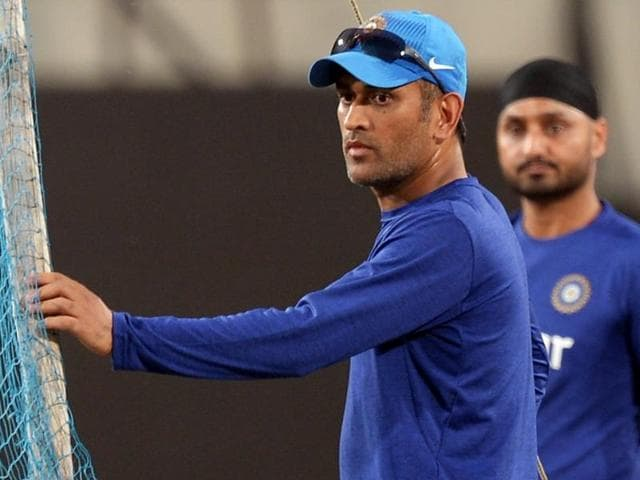 Mahendra Singh Dhoni during a training session ahead of the second T20 international between India and Sri Lanka at the JSCA International Stadium in Ranchi on February 11, 2016.