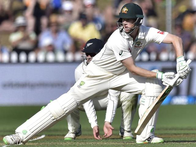 Adam Voges of Australia plays a shot during the first cricket Test match against New Zealand.