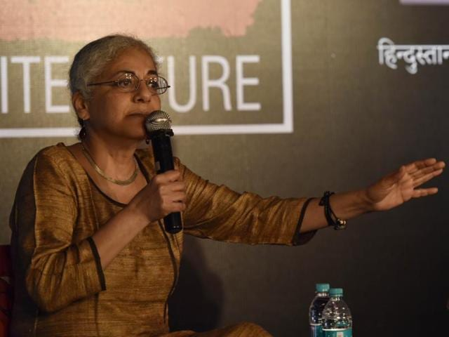 Writer and activist Githa Hariharan speaks at the event held at the David Sassoon Library on Thursday.