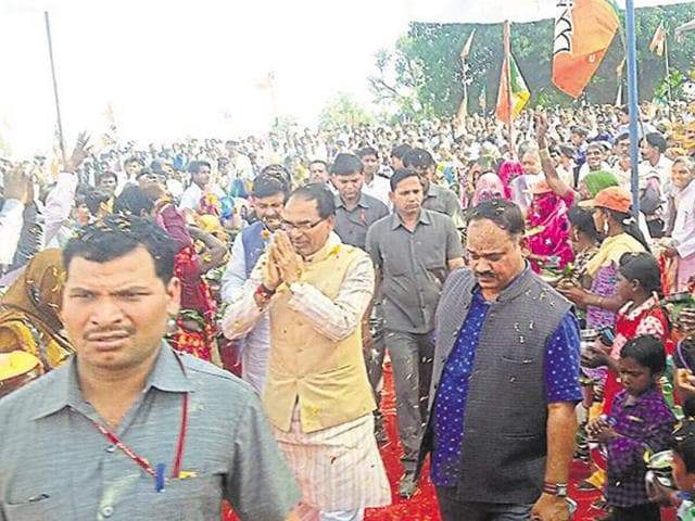 Chief minister Shivraj Singh Chouhan campaigns in Maihar on the last day of campaigning.