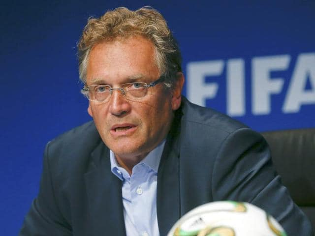 File photo of former FIFA Secretary General Jerome Valcke addressing a news conference.