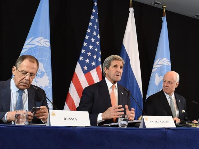 (L-R)Russian foreign minister Sergei Lavrov , US secretary of state John Kerry and UN special envoy for Syria, Staffan de Mistura, attend the International Syria Support Group (ISSG) meeting in Munich on Friday.
