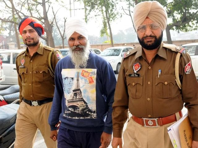 Punjabi University 'gatka' coach Avtar singh coming out the  district court in Patiala on Thursday.