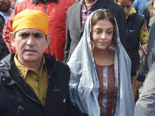 Bollywood actor Aishwarya Rai  during the shoot of the film Sarbjit at the Golden Temple complex on Friday.