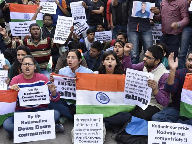 Students of ABVP protest against communism at JNU Campus, in New Delhi, India on Thursday, February 11, 2016.