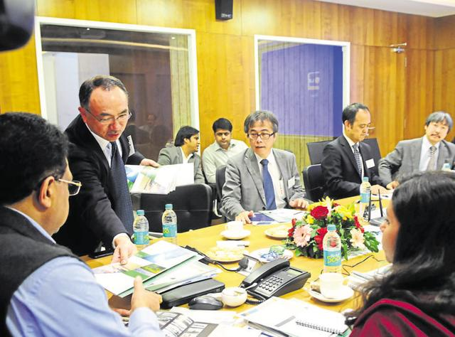 Representatives of a Japanese company make a presentation during a meeting on Metro rail project in Bhopal on Thursday.