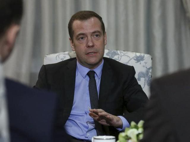 Russian Prime Minister Dmitry Medvedev speaks during an interview at the Gorki state residence outside Moscow, Russia.