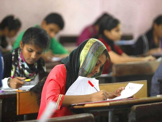 Students appearing for their board exams at a school.