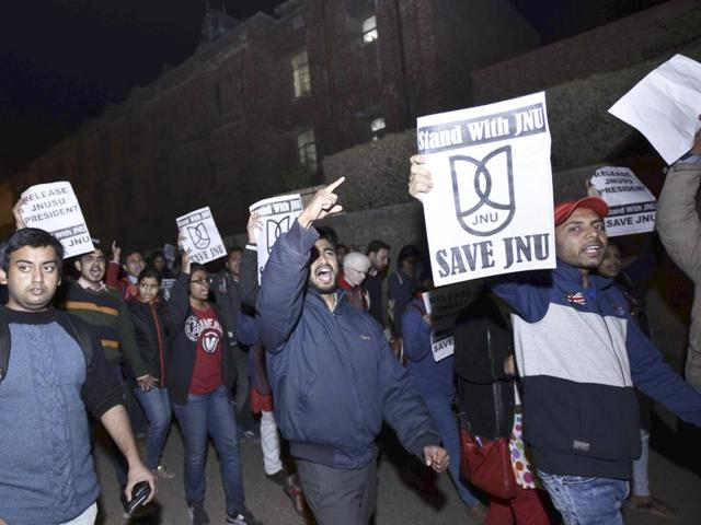 JNU Teacher and Students during protest march in  the university campus against  the arrest of students union president Kanhaiya on February 12, 2016.
