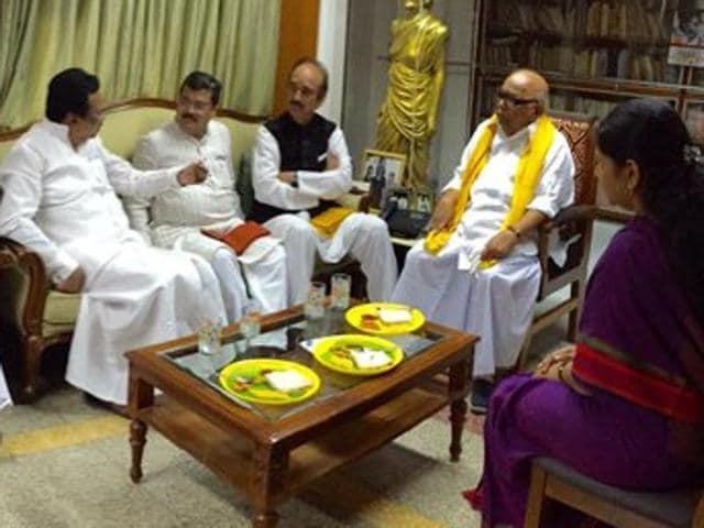 "DMK leader M. Karunandhi tweeted ""All India Congress Party's Shri Ghulam Nabi Azad came to meet me"""