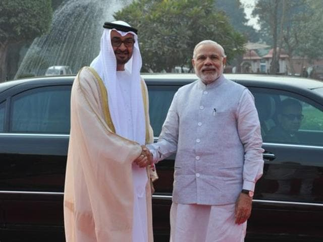 PM Narendra Modi with Crown Prince of Abu Dhabi and Deputy Commander of the USE Armed Force Sheikh Mohamed bin Zayed Al Nahyan