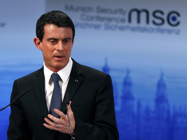 French Prime Minister Manuel Valls delivers a speech at the Munich Security Conference in Munich, Germany.