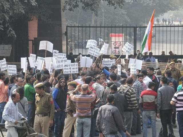 Residents of Munirka Village during demonstration against Anti National Campus Misuse infront of JNU at JNU in New Delhi.