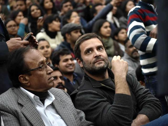 Congress Vice President Rahul Gandhi addressing the ongoing protest of students over the release of Student Union president Kanhaiya Kumar at Jawaharlal Nehru University, in New Delhi, India, on Saturday, February 13, 2016.