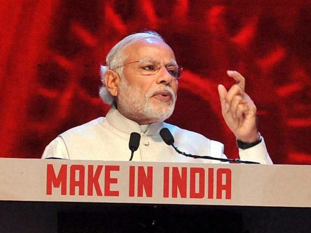 Prime Minister Narendra Modi addresses during the inauguration of the Make in India Week in Mumbai.