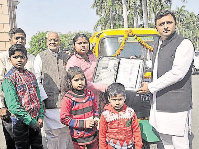 Chief minister Akhilesh Yadav gifted Singhal a new autorickshaw in Lucknow on Saturday.