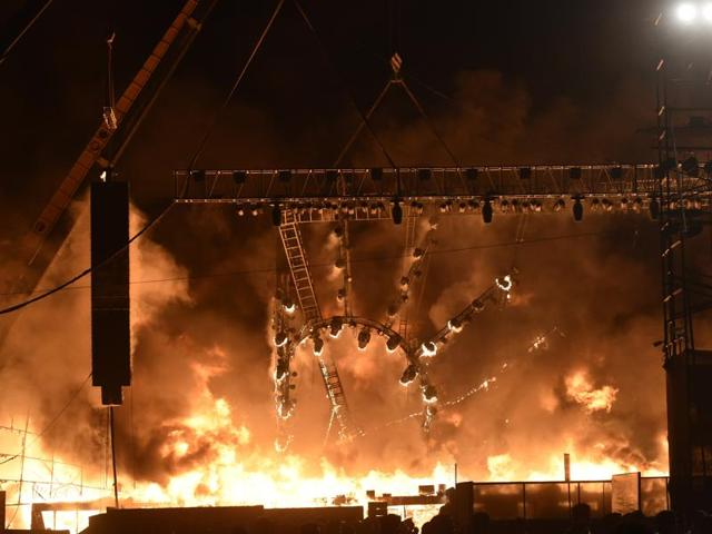 A huge fire broke out on the stage during a cultural programme in Mumbai on February 14, 2016.  However, no casualties were reported and the fire was brought under control.