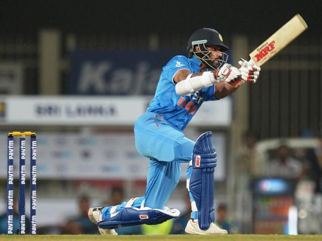 India's Shikhar Dhawan plays a shot during the second T20 international match against Sri Lanka.