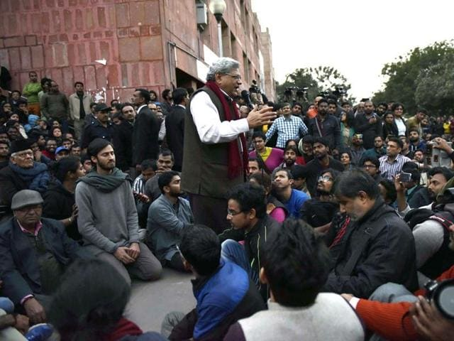 Congress Vice President Rahul Gandhi joins the ongoing protest of students over the release of Student Union president Kanhaiya Kumar at Jawaharlal Nehru University.