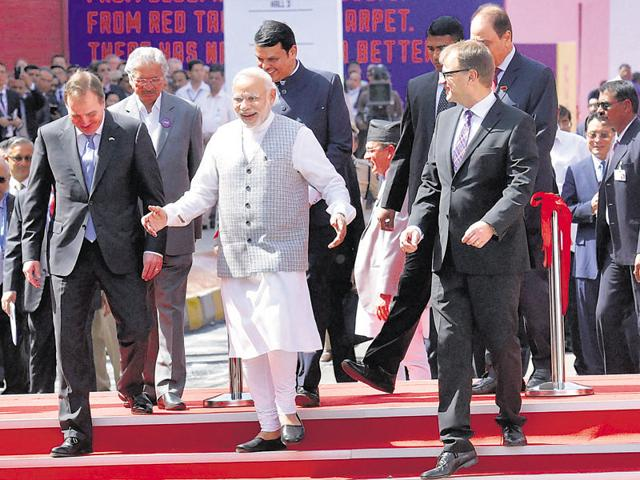 Prime Minister Narendra Modi with Sweden PM Stefan Lofven (left), Finland PM Juha Sipila (right) and chief minister Devendra Fadnavis during the Make In India Week event in Mumbai on Saturday.