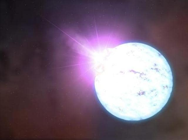 An artist's rendering of an outburst on an ultra-magnetic neutron star, also called a magnetar is shown in this