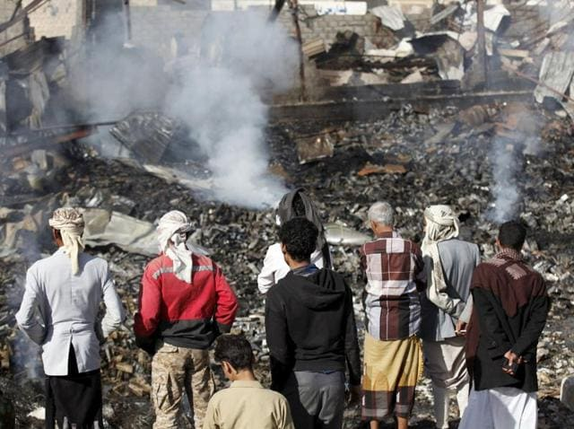 Yemen workshop,saudi-led coalition,2 killed 15 injured