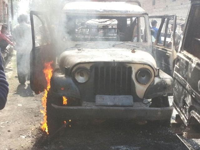 Police vehicles were set ablaze by the mob in Rewa district late on Saturday night.