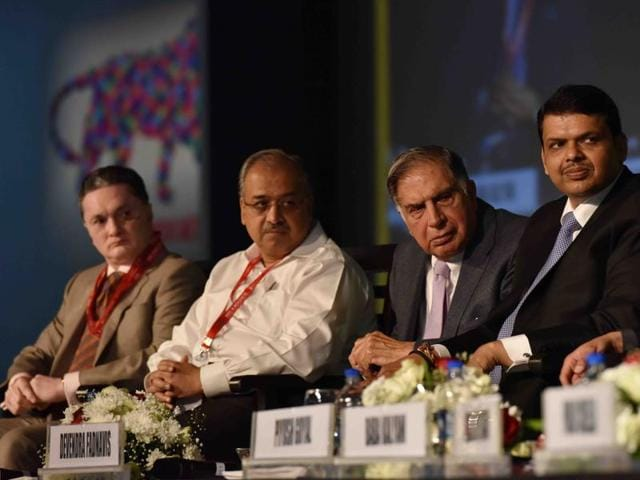 From left: Raymond Group CMD Gautam Singhania, Sun Pharma MD Dilip Shanghvi, Tata Sons chairman emeritus Ratan Tata and Maharashtra chief minister Devendra Fadnavis during the Maharashtra Investment seminar at the Make in India event in Mumbai on Monday.