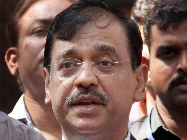 Public prosecutor Ujjwal Nikam interacts with the media after David Headley deposed before a court through video link in the 26/11 case in Mumbai.