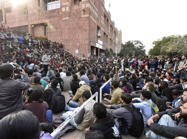 JNU students protest against arrest of JNUSU president Kanhaiya Kumar at JNU campus in New Delhi on Monday.