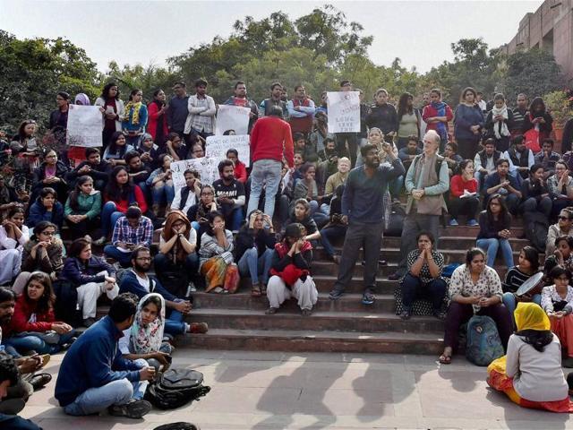 JNU students protest inside the university campus against the arrest of student union president Kanhaiya Kumar.