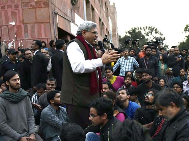 JNU row,Sitaram Yechury,JNU students