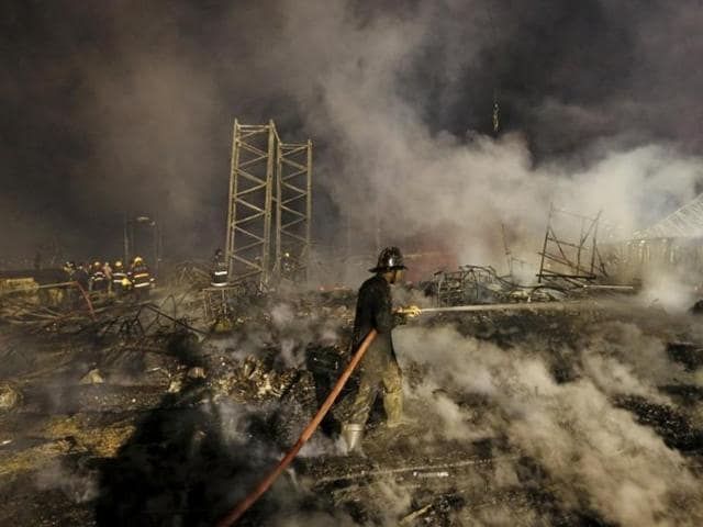 A massive fire broke out on Stage during a cultural event 'Maharashtra Night' at the Make In India week in Mumbai on Sunday
