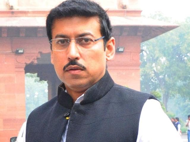 """Minister of state for information and broadcasting Rajyavardhan Singh Rathore. """"Twisting and stretching the matter unnecessarily would be politicisation,"""" Rathore said. (File Photo)"""