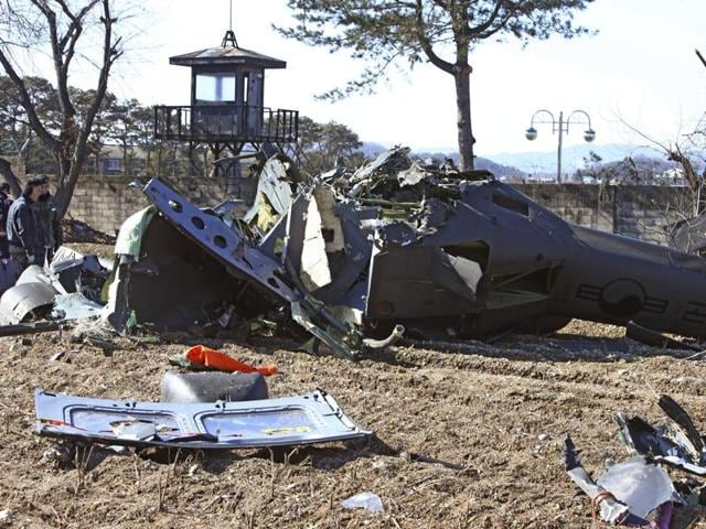 The helicopter went down in a farming field in the city of Chuncheon in the eastern province of Gangwon during a checkout flight.