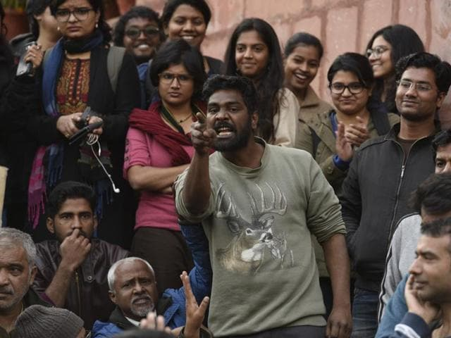 Members of JNUTA and students during a press conference at JNU campus, in New Delhi.