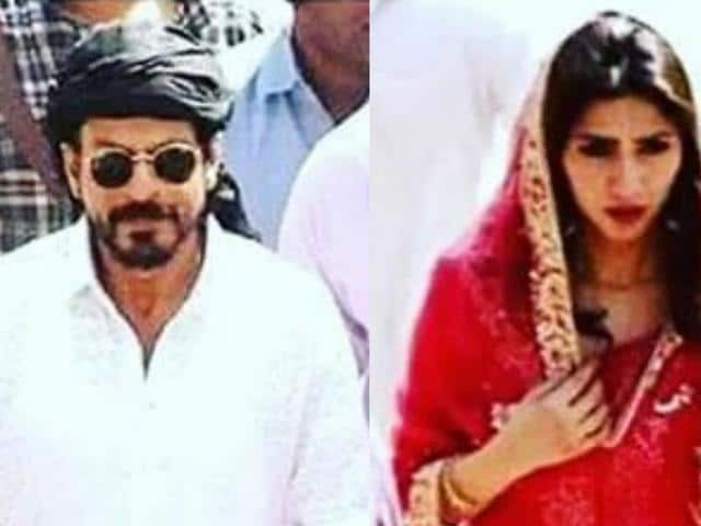 SRK and Mahira Khan on the sets of Raees.
