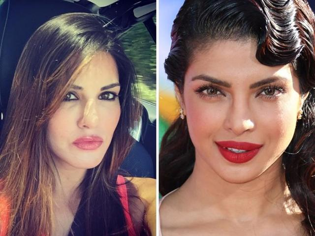 As per recent reports, Priyanka Chopra (right) had asked photographers at an awards show not to not click her and Sunny Leone together on the red carpet.