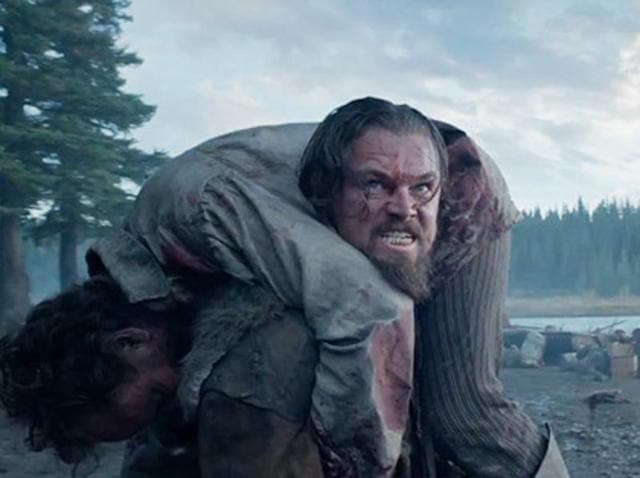DiCaprio as Hugh Glass in a still from The Revenant.