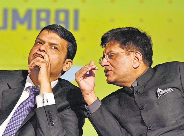 Chief minister Devendra Fadnavis and minister of state Piyush Goyal during a seminar at BKC on Monday.